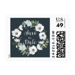 White Anemone Floral Wreath Save the Date Stamp