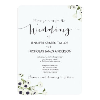 White Anemone Flower Vintage Wedding Invitation