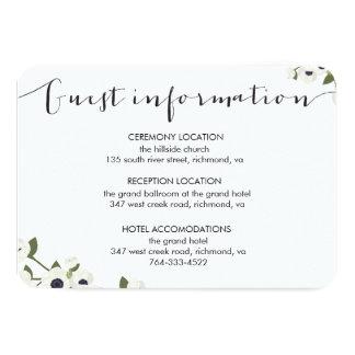 white anemone flower wedding information card
