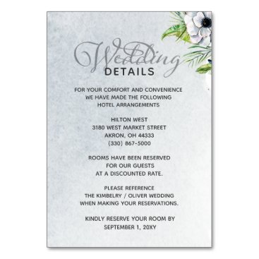 White Anemone Flowers Spring Wedding Details card