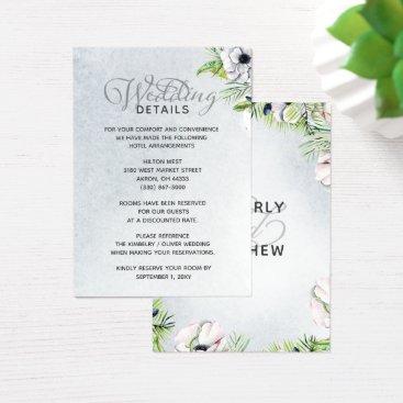 White Anemone Flowers Spring Wedding Details card