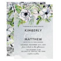 White Anemone Flowers Spring Wedding Invitations