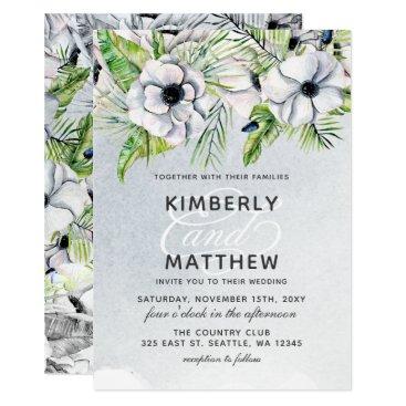White Anemone Flowers Spring Wedding Invitations