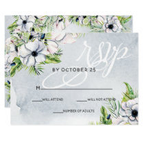 White Anemone Flowers Spring Wedding rsvp Card
