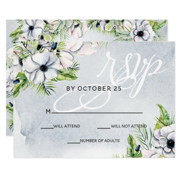 White Anemone Flowers Spring Wedding rsvp Card