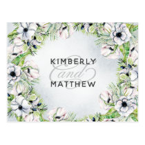 White Anemone Flowers Spring Wedding rsvp Postcard