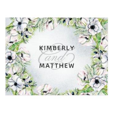 White Anemone Flowers Spring Wedding rsvp Postcard