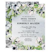 White Anemone Spring Bridal Shower Invitations