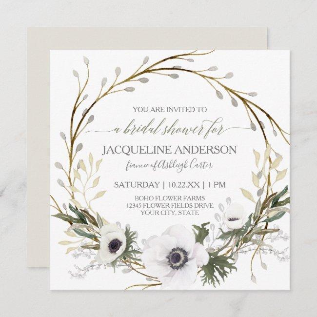 White Anemone Twig Fern Eucalyptus Bridal Shower Invitation