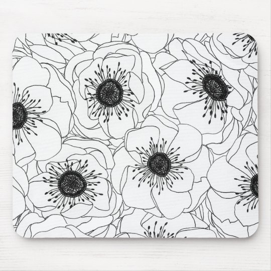 White Anemones Mouse Pad