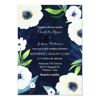 White Anemones Navy Blue Wedding Card