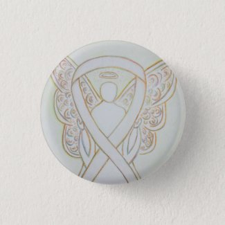 White Guardian Angel Child Adoption Awareness Ribbon Custom Art Pins