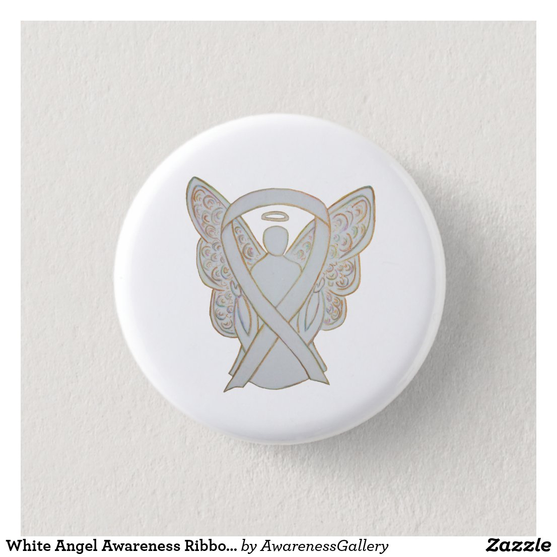 White Child Adoption Guardian Angel Awareness Ribbon Custom Art Pins or Buttons