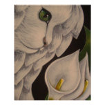 WHITE ANGEL CAT WITH CALLA LILLIES FLOWERS POSTER