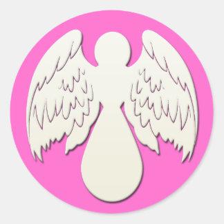 WHITE ANGEL CLASSIC ROUND STICKER