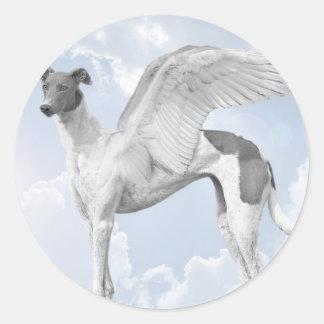 White Angel Greyhound Classic Round Sticker