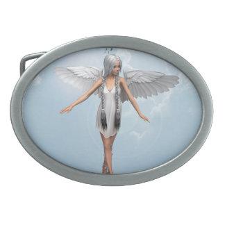 White Angel Oval Belt Buckle