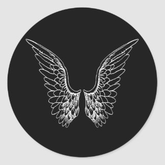 White Angel Wings on Black Background Classic Round Sticker