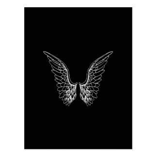 White Angel Wings on Black Background Postcard