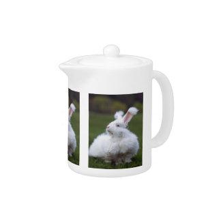 White Angora Bunny Rabbit Teapot