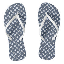 White Animal Paw Prints on Blue Jeans Blue Flip Flops