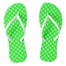 White Animal Paw Prints on Lime Green Flip Flops