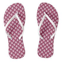 White Animal Paw Prints on Sangria Pink Flip Flops