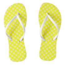 White Animal Paw Prints on Yellow Flip Flops