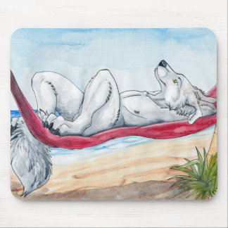 White anthro wolf enjoying summer in hammock mouse pad