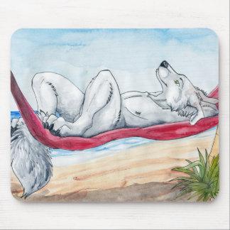 White anthro wolf enjoying summer in hammock mouse pad