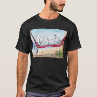 White anthro wolf enjoying summer in hammock T-Shirt