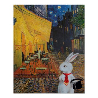 White Anthropomorphic Bunny Rabbit at French Cafe