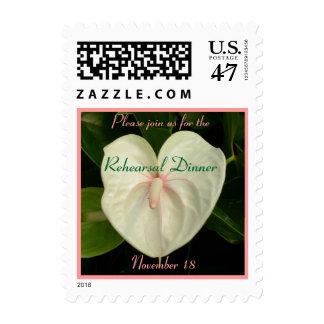 White Anthurium Rehearsal Dinner Stamp