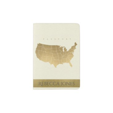 USA Themed WHITE ANTIQUE GOLD USA MAP LEATHER MONOGRAM PASSPORT HOLDER