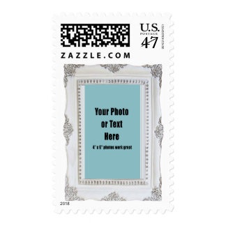 White Antique Porcelain Frame Postage Stamp