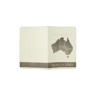 WHITE ANTIQUE SILVER AUSTRALIA MAP MONOGRAM PASSPORT HOLDER