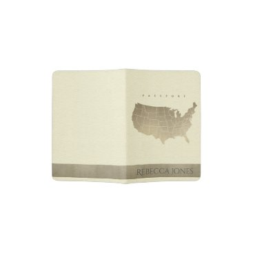 USA Themed WHITE ANTIQUE SILVER USA MAP LEATHER MONOGRAM PASSPORT HOLDER