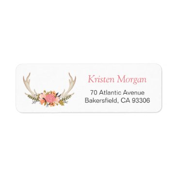 Christmas Themed White Antler Rustic Chic Classy Floral Decor Label