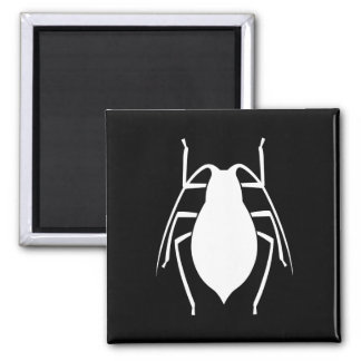 White Aphid Insect Silhouette 2 Inch Square Magnet