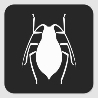 White Aphid Insect Silhouette Square Sticker