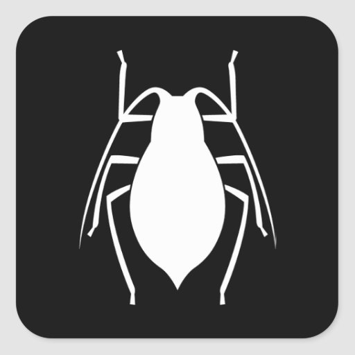 White Aphid Insect Silhouette Square Stickers