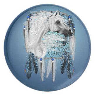 White Appaloosa Dreamcatcher Dinner Plate