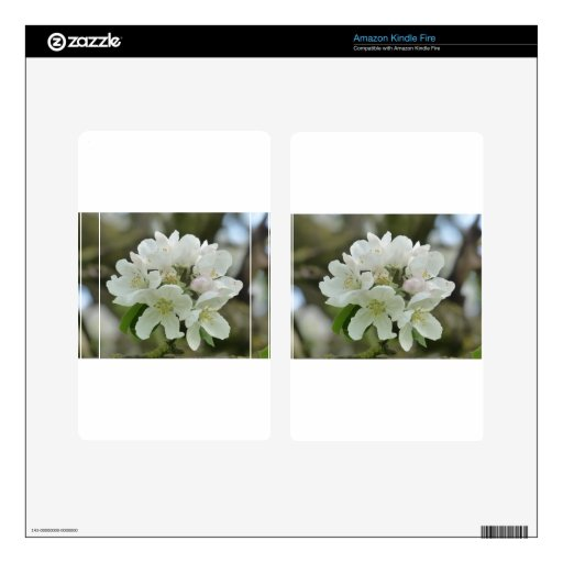 White Apple Blossom Decals For Kindle Fire