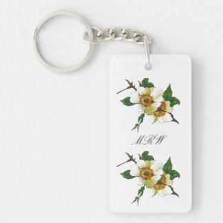 White Apple Blossom Flower Optional Initials Long Double-Sided Rectangular Acrylic Keychain