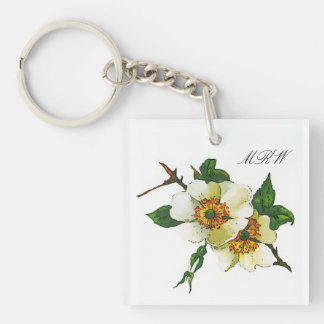 White Apple Blossom Flower Stem Optional Initials Double-Sided Square Acrylic Keychain