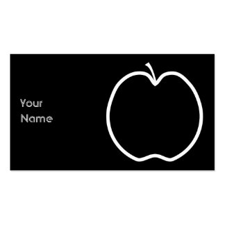 White Apple Outline Business Card Template