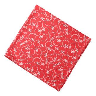 White Apple Pattern on Red Bandana