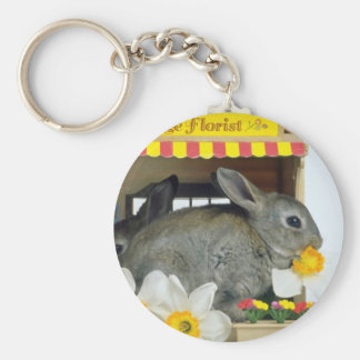 white Apricot and Blue Rex rabbits flowers Keychain
