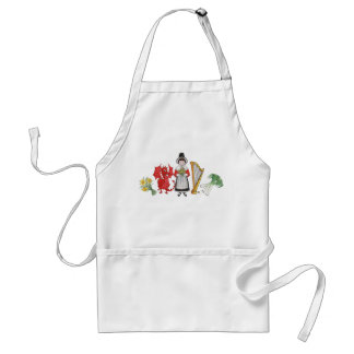 White Apron: Welsh Daffodils Dragon Leeks Harp Adult Apron
