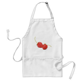 White apron with red sweet strawberries